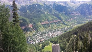 Telluride far below