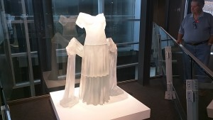 Full size glass dress sculpture.