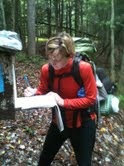 Karen signing the trail register